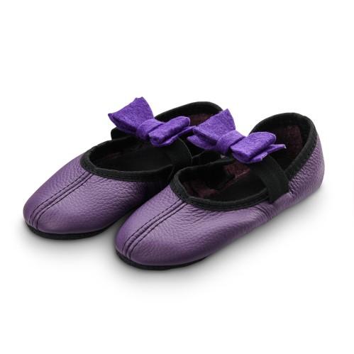 Šokių tapkutės su veltinio kaspinėliais, violetinės spalvos