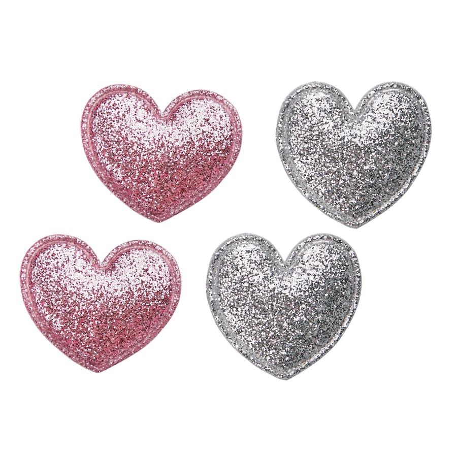 Šokių tapkutės su blizgiomis širdelėmis, baltos spalvos