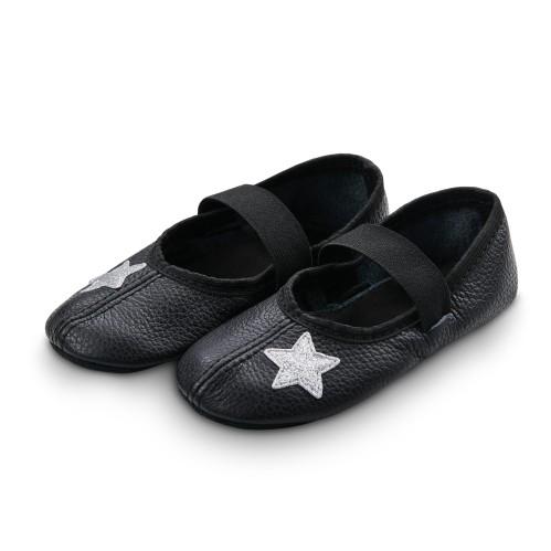 Šokių tapkutės su blizgiomis žvaigždelėmis, juodos