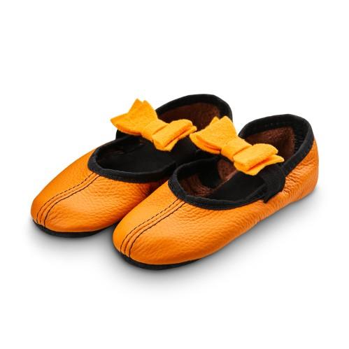 Šokių tapkutės su veltinio kaspinėliais, oranžinės spalvos